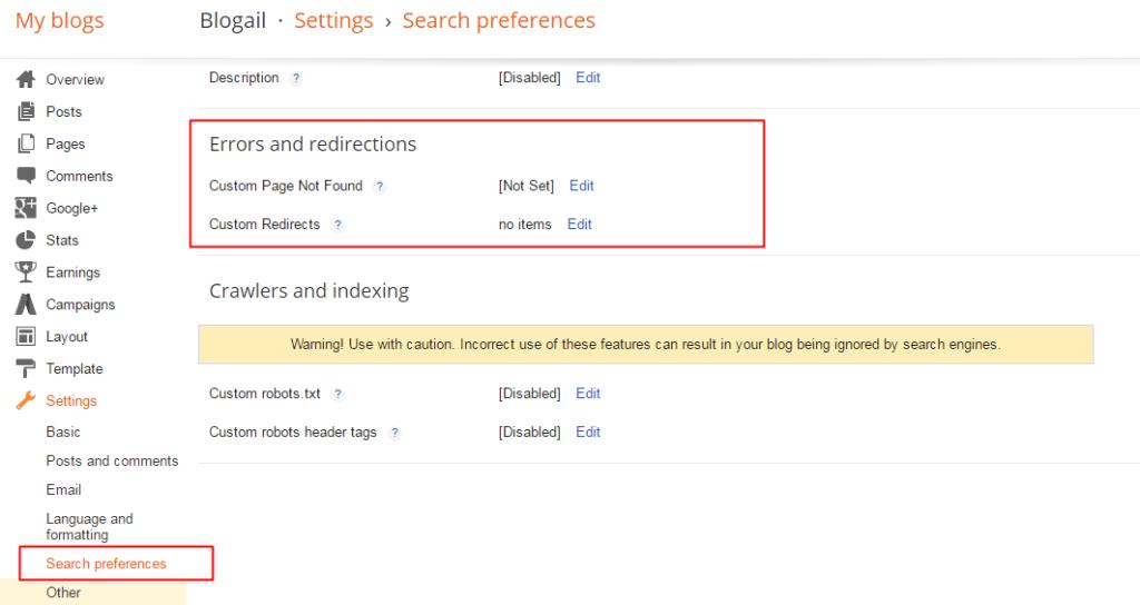 Setting Custom redirect in blogspot