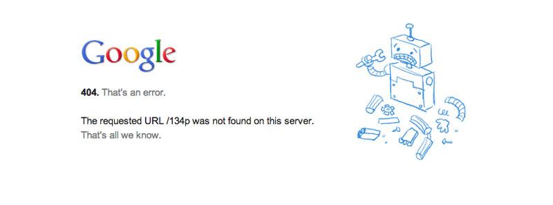 Google 404 error page not found