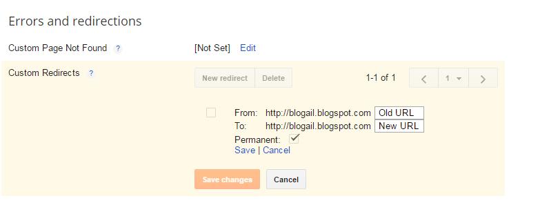 custom redirect old url to new url in blogspot
